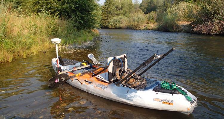 Kayak-based survey platform with depth sounder and GPS/RTK -- used for geomorphic mapping