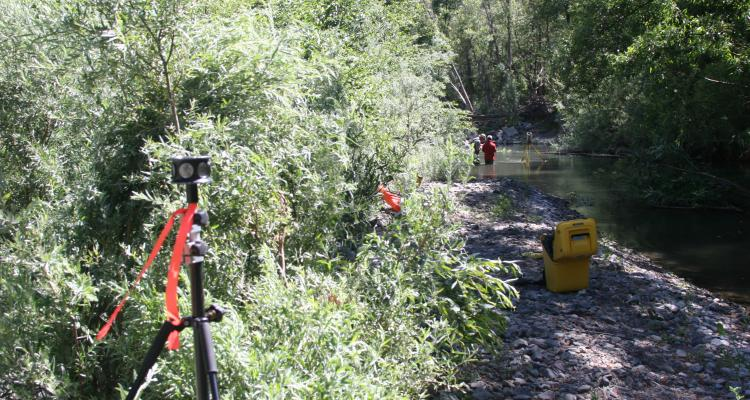 Conventional surveying in heavily vegetated channel
